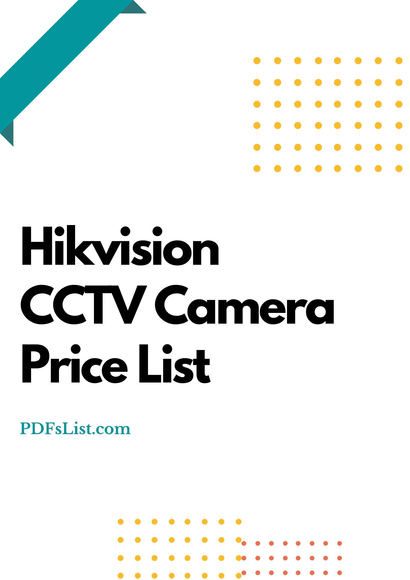 Hikvision CCTV Camera Price List