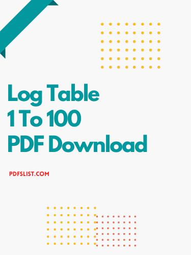 Log Table PDF