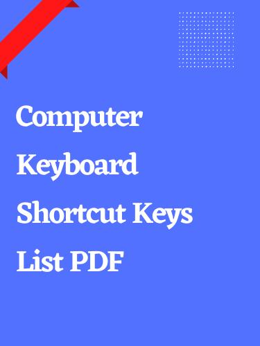 Computer Keyboard Shortcut Keys List PDF